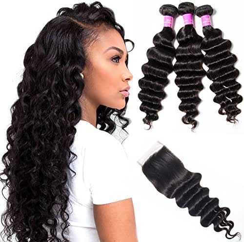 Star Show Hair Malaysian Loose Deep Wave Bundles with Closure Virgin Loose Wave 100% Unprocessed Human Hair Extensions (20 22 24 with 18Free Part Closure)