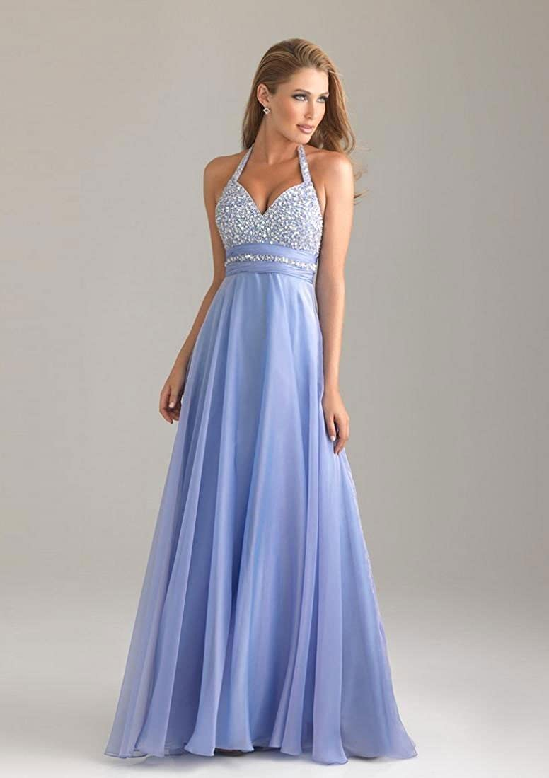 atopdress T8 Evning helterneck prom sequined gown eveing dress (6, BLUE): Amazon.co.uk: Clothing