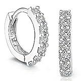 DDLBiz Women Layies Fashion Silver Rhinestones Hoop Diamond Stud Earrings