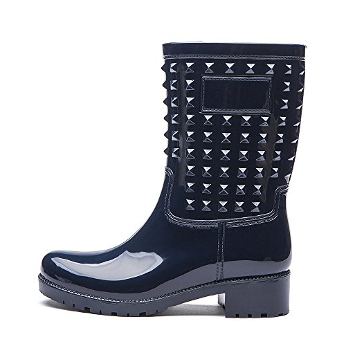 Rain On Mid KICKIC Colors Blue Waterproof DZX02 with Rivet Boots Boots Style 5 Calf Slip Women's Punk g6tBtqFw