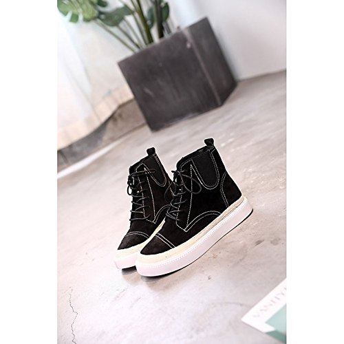 HSXZ Zapatos de Mujer de cuero de nubuck moda otoño invierno PU Confort botas botas planas botas de tacón puntera redonda Mid-Calf for casual caqui negro Black