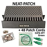 Neat Patch Cable Manager (1 Unit) w/ 48 CAT6 Patch Cables (2FT Green)