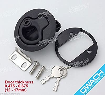 "Slam Latch Hatch Round Pull Latch With Lock (OWACH AL-958-2L) for 1/2"" door Replace Southco M1-43 RV Marine BOAT 2 3/8""D"