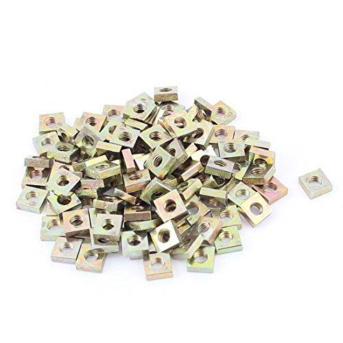 M3x5.5mmx2mm Zinc Plated Square Nuts Bronze Tone 100pcs