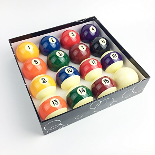 JAPER BEES Premium Standard Billiard ball/Pool Ball Set,Complete 16balls, 2 1/4 inch Regulation Size&Weight, Resin Ball - Phenolic Pool