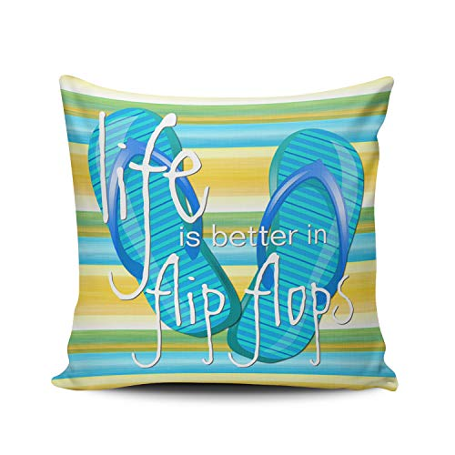 - MUKPU Fashion Home Decoration Design Throw Pillow Case Blue Green and Yellow Cute Life is Better in Flipflops Stripes Pattern 16X16 Inch Square Custom Cushion Cover Double Sided Printed (Set of 1)