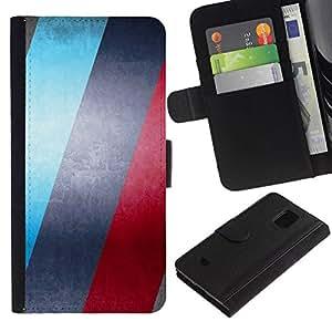 NEECELL GIFT forCITY // Billetera de cuero Caso Cubierta de protección Carcasa / Leather Wallet Case for Samsung Galaxy S5 Mini, SM-G800 // AZUL Y ROJO RAYAS