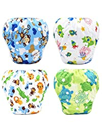 Baby Swim Diapers Waterproof Adjustable Cloth Diapers Pool Pant Swimming Diaper Cover Reusable Washable Nappies Swimwear for Toddlers 0-3 Years