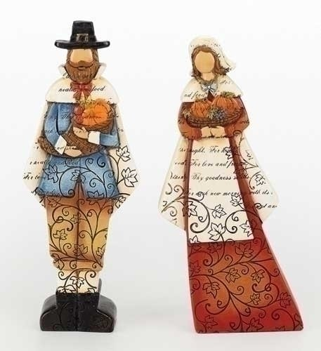 Set of 2 Thanksgiving Autumn Harvest Pilgrim Man and Woman Figures with Verse 9