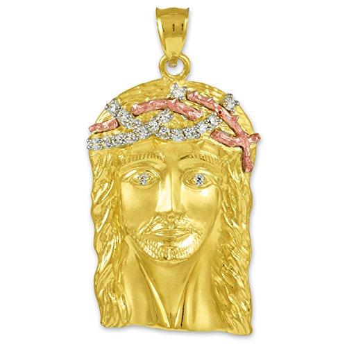 10 ct 471/1000 Multi-Tone Or Jaune Jesus Gesicht Oxyde de Zirconium Pendentif