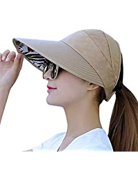 b8452151baefe Sun Visor Hats for Women Large Wide Brim UV Protection Summer Beach  Packable Cap