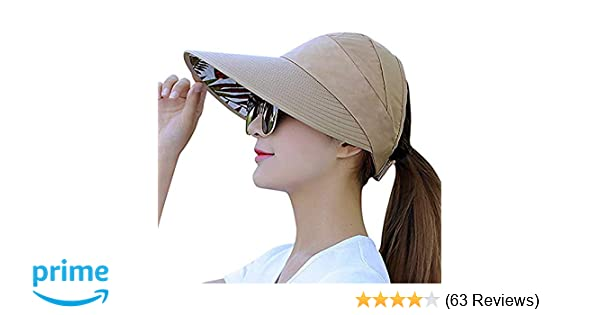 67b79498306 Visor Cap for Women Wide Brim UV Protection Summer Beach Sun Hats (A-Khaki)  at Amazon Women s Clothing store