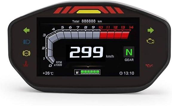 Kkmoon Motorrad Drehzahlmesser Lcd Digital Display 0 14000 Rpm 18v Tacho 299 Km H Hintergrundbeleuchtung Kilometerzähler Tachometer Für 1 2 4 Zylinder Motorrad Auto