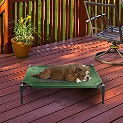 "Petmaker Elevated Pet Bed-Portable Raised Cot-Style Bed W/ Non-Slip Feet, 30""x 24""x 7"" for Dogs, Cats, and Small Pets-Indoor/Outdoor Use (Green)"