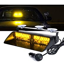 Xprite Amber Yellow 16 LED High Intensity LED Law Enforcement Emergency Hazard Warning Strobe Lights For Interior Roof / Dash / Windshield With Suction Cups
