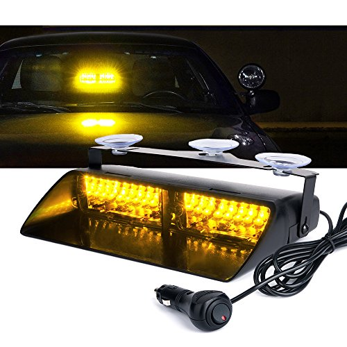 Xprite Amber Yellow 16 LED High Intensity LED Law Enforcement Emergency Hazard Warning Strobe Lights For Interior Roof/Dash / Windshield With Suction - Dash Warning Lights
