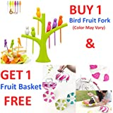 A To Z Sales Buy 1 Bright Birds Fruit Fork 6pcs Set - Color May Vary and GET 1 Senso Foldable Fruit Basket Free