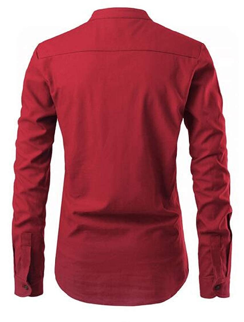 Domple Men Slim Solid Color Casual Business Long Sleeve Stand Collar Dress Henley Shirts
