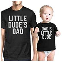 365 Printing Little Dude Black Matching Graphic T-Shirts For Dad and Baby Boy