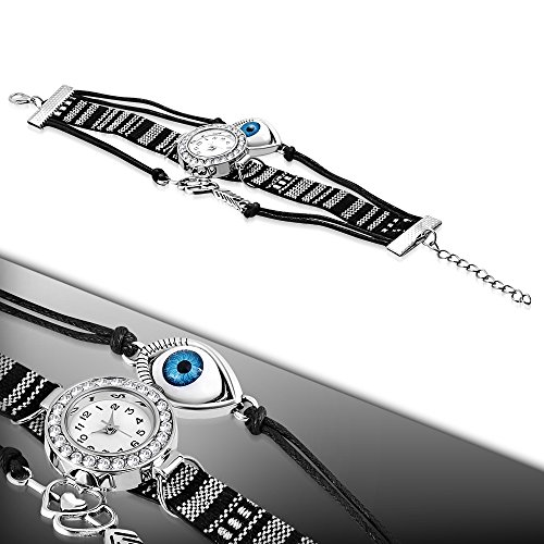 My Daily Styles Fashion Alloy CZ Black White Love Heart Evil Eye Wrist Watch, 8.5'' by My Daily Styles (Image #1)
