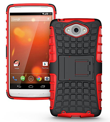 JKase DIABLO Tough Rugged Dual Layer Protection Case Cover with Build in Stand for Motorola DROID Turbo (Verizon) (NOT Compatible with Ballistic Nylon Version) - Retail Packaging (Red)