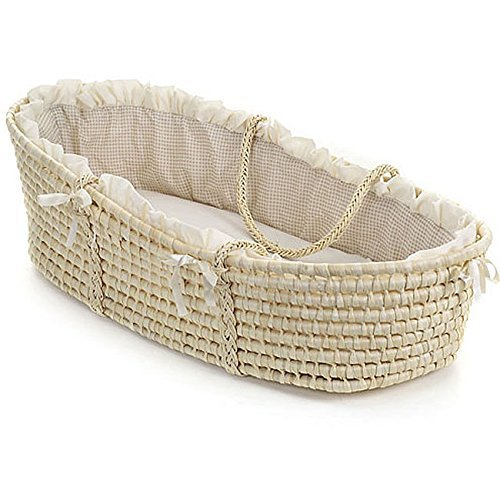 Natural Baby Moses Basket with Ecru Gingham Bedding and Wicker Material by Badger Basket
