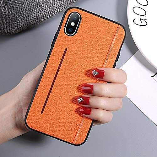 Maxlight Phone Case for iPhone 7 8 Plus X XR XS Max Luxury Retro Cloth Feeling Texture Hard PC for iPhone X Phone Case Cover (Orange, for iPhone Xs Max)