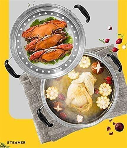 Vitaliseur 3 Tier Steamer Pan Set En Acier Inoxydable Marmite Plaques À Induction Gaz Général Une Plus Grande Capacité Alimentaire Marmite (Size : 26cm)
