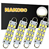 "NAKOBO 44mm (1.73"") 12-SMD 1210 LED Festoon 561 562 564 567 Bulb Canbus Error Free 400LM 6000K Extremely Bright Use for Trunk Cargo Light, License Plate Bulbs, Xenon White(pack of 4)"