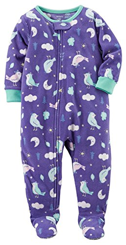 Carter's Girls' 1-Piece Footed Sleeper Fleece Pajamas (Purple Birds, 6 Months)