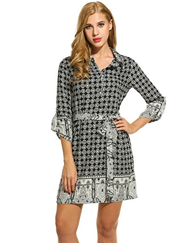 HOTOUCH Women's Vintage Printed Black Striped 3/4 Sleeve Self-Tie Belt Shirt Dress
