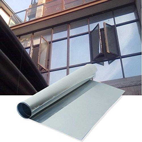 Funnytoday365 Silver Window Film One Way Mirror Insulation Sticker Solar Reflective Sunscreen Privacy Tint Wall Glass Film 50Cmx1M