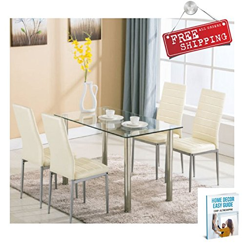Tall Dining Table Set with Chairs White Furniture Set Glass Top Modern Metal Upholstered Rectangular & eBook by AllTim3Shopping