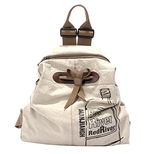 EasyHui Canvas Printed Satchel Convertible Backpack Crossbody Bag Women Vintage Shoulder Handbag Unisex Travel Backpack Beige by EasyHui (Image #9)