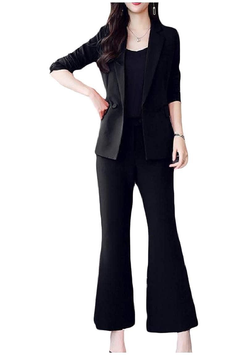Mfasica Womens Lapel Button Skinny Flare Fashion Blazer Long Pants Set