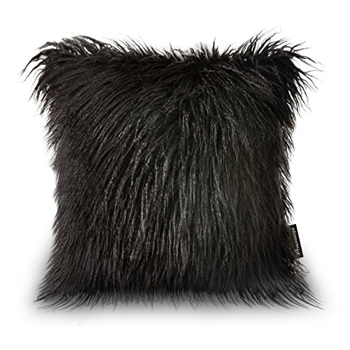 Phantoscope-Decoractive-New-Luxury-Series-Throw-Pillow-Case-Cushion-Cover-18-x-18-45cm-x-45cm-Merino-Black-Fur