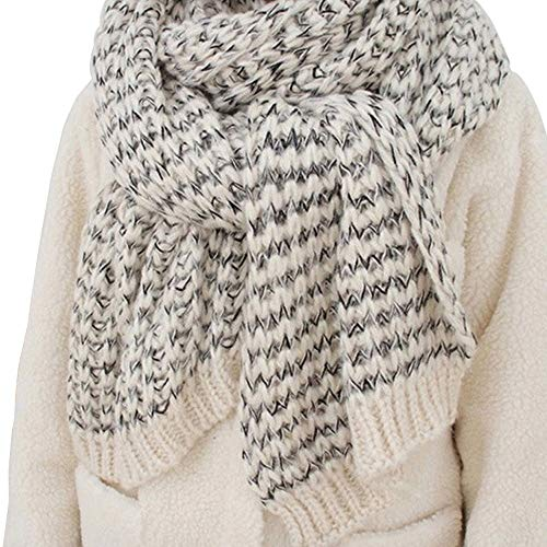 (YAKEFJ Winter Chunky Cable Soft Mohair Knit Scarf for women 3)