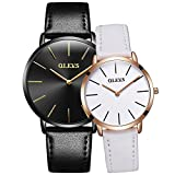 OLEVS Men Women Romantic Rose Golden Ultrathin Leather Band Quartz Wrist Watches for Couples Set of 2 Pcs