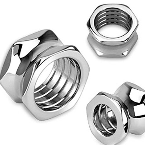 Surgical Steel Saddle Plugs - Hexagon Screw Bolt HollowWildKlass Saddle Plug 316L Surgical Steel (Sold as a Pair)