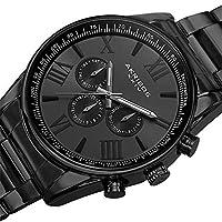 Akribos XXIV - Reloj de pulsera de cuarzo redondo con tres manos AK736BK para hombres