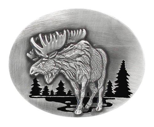 Pewter Belt Buckle - Moose in River - Pewter Belt Buckle