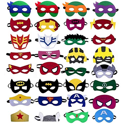 UGA Superhero Masks (32 Packs) - Superheroes Birthday Party Masks ,Children's top Hats]()