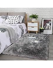 LOCHAS Stylish Ultra Soft Silky Fluffy Shag Faux Sheepskin Area Rug,Rugs for Living Room Bedroom Nursery Floor