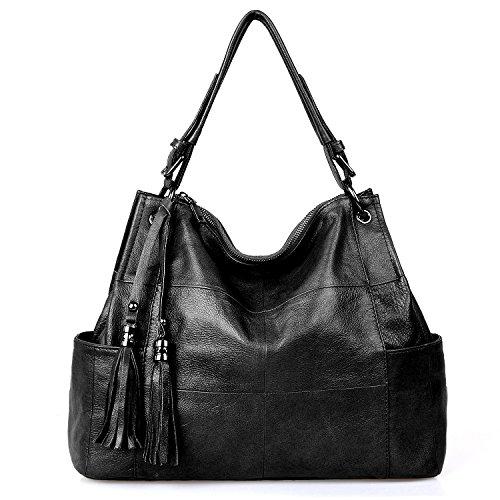 Jack&Chris Leather Hobo Purse Large Tote Shoulder Bag Tassel Satchel Handbags for Women, WB501C, Black ()