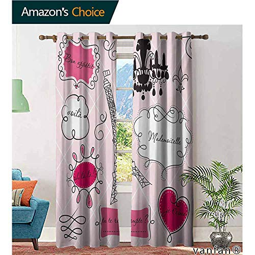 Privacy Door Curtain Panel,Teen RoomDoodle Frames in French Style Rococo Baroque Lantern Mademoiselle Print,100% Blackout Drapery,Hot Pink and Black,W96 xL96 (Light Mademoiselle One Wall)