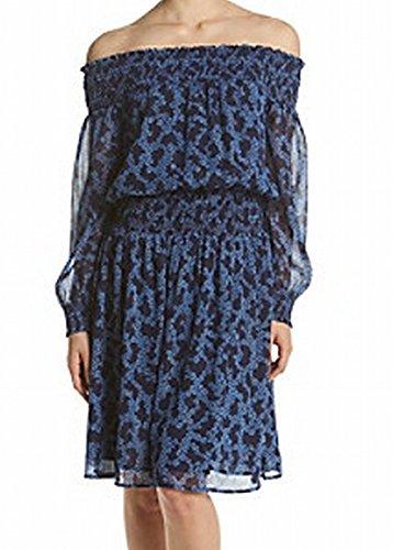 MICHAEL Michael Kors Womens Off-The-Shoulder Floral Print Party Dress Blue - Michael Kors Return Free