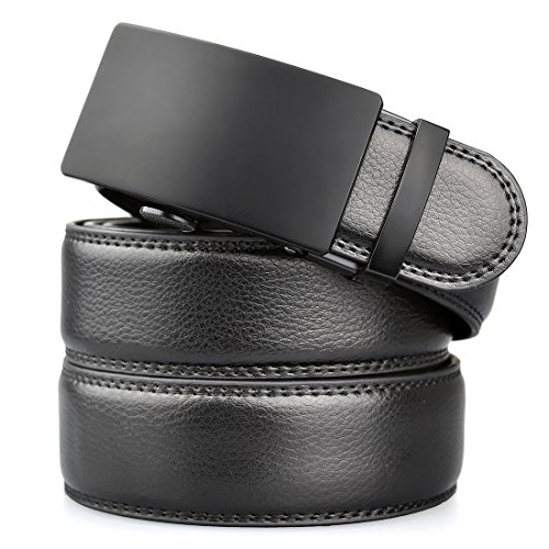 Mens Leather Ratchet Black Belt With Removable Automatic Buckle 1.38