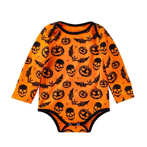 Newborn Romper Clearance Sale - vermers Baby Girls Long Sleeve Halloween Cartoon Skull Pumpkin Jumpsuit(18M, Yellow) for $<!--$4.99-->