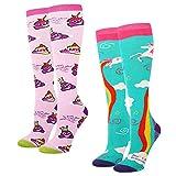 Emoji Outfits for Kids Women's Novelty Knee High Socks Rainbow Unicorn Poop Emoji Athletic Over the Calf Socks for Girls,2 Pack Gift Box