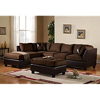 3 piece modern microfiber faux leather sectional sofa with ottoman color hazelnut beige